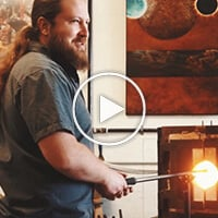 Cory Ballis blowing glass